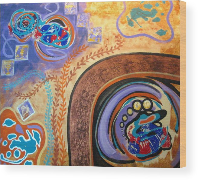 Abstract Wood Print featuring the painting Biomorphic Botanical by Diann Baggett