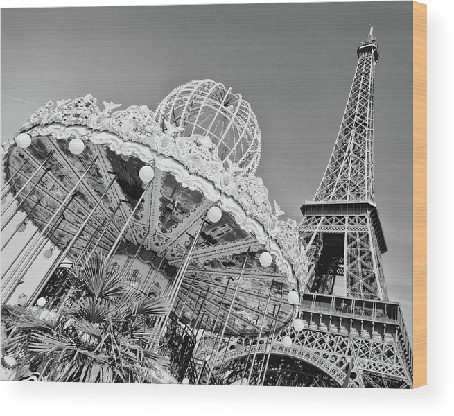 Paris Wood Print featuring the photograph Black And White Carousel by Delphimages Photo Creations