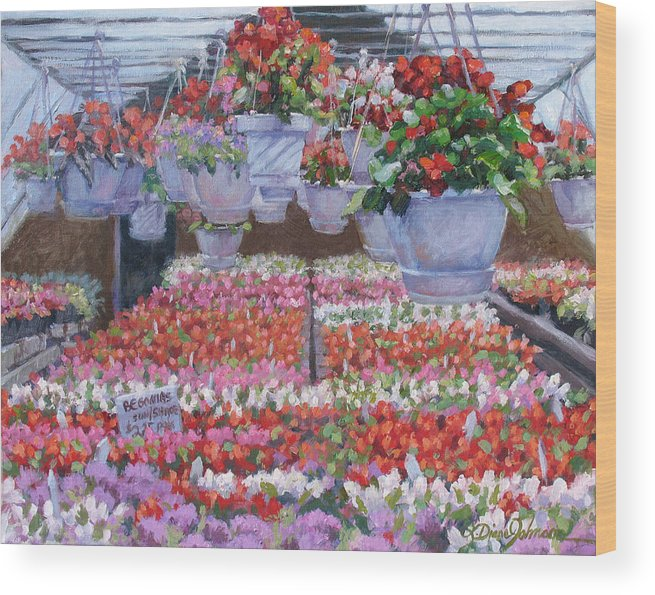 Greenhouse Garden Wood Print featuring the painting Blooms Ablaze by L Diane Johnson
