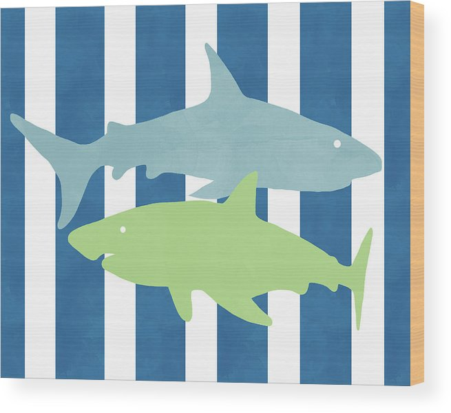 Shark Wood Print featuring the mixed media Blue And Green Sharks- Art By Linda Woods by Linda Woods