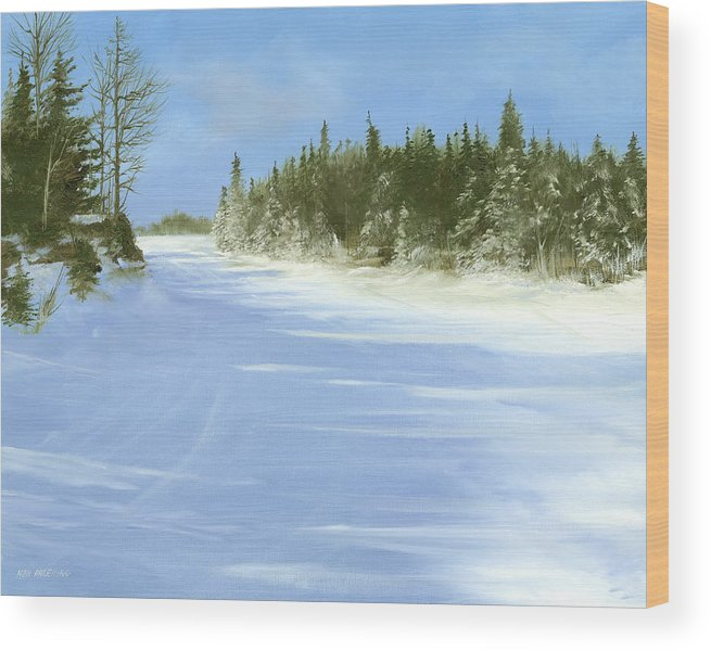 Ski Wood Print featuring the painting Blue Cruiser by Ken Ahlering