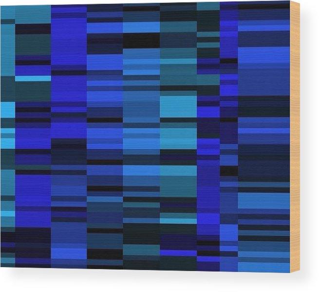Wood Print featuring the digital art Blue Mondrian by Rudy Mee