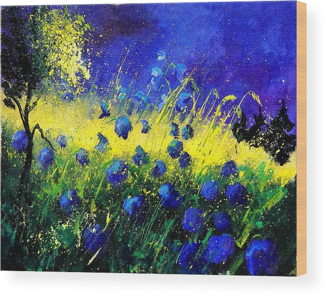 Flowers Wood Print featuring the painting Blue Poppies by Pol Ledent