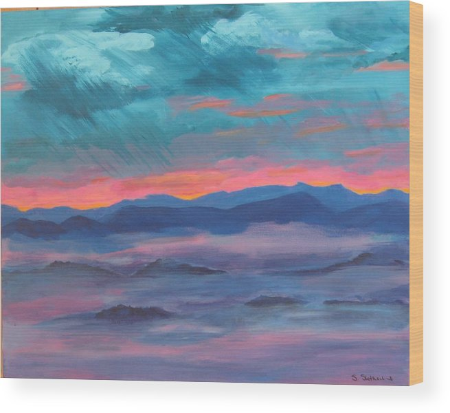 Mountain Range Wood Print featuring the painting Blue Ridge I by Sheryl Sutherland