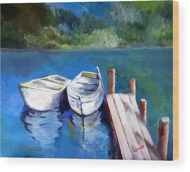 Landscape Wood Print featuring the painting Boats Docked by Julie Lamons