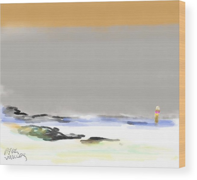 Seascape Wood Print featuring the painting Bolinas Beach Walker by Paul Miller
