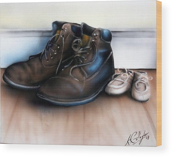 Boots Wood Print featuring the painting Boots And Shoes by Kevin Gallagher