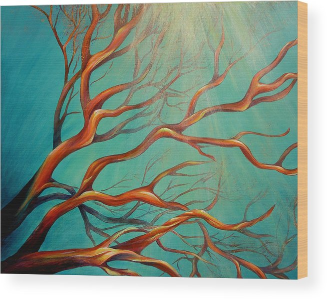 Coral Sea Ocean Underwater Beach Aquatic Reef Diving Contemporary Close-up Aquatica Series Wood Print featuring the painting Branching Out by Dina Dargo