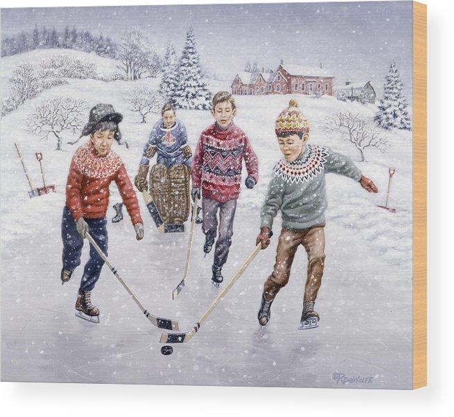 Hockey Wood Print featuring the painting Breakaway by Richard De Wolfe