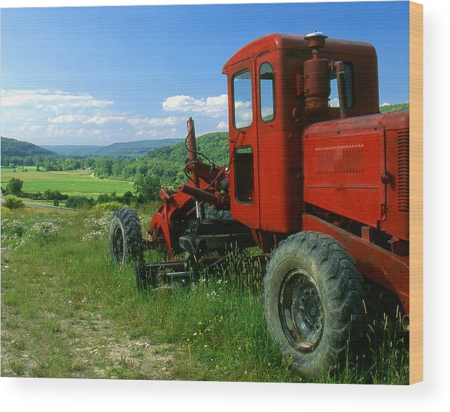 Heavy Equipment Wood Print featuring the photograph Bright Red Antique Grader by Roger Soule