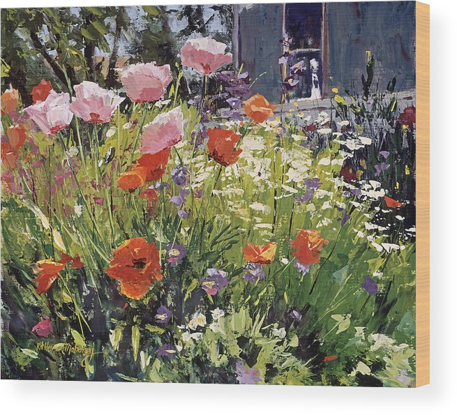 Floral Wood Print featuring the painting Brilliant Garden by Kit Hevron Mahoney