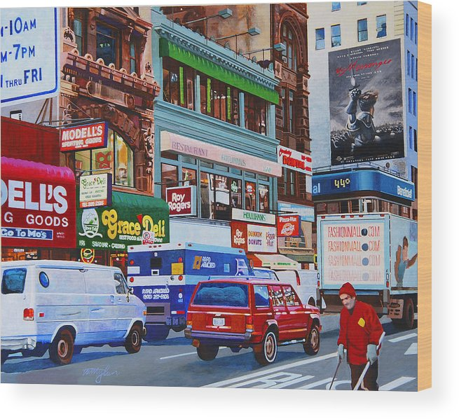 Street Scenes Wood Print featuring the painting Broadway by John Tartaglione