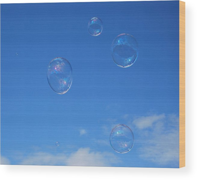Bubbles Wood Print featuring the photograph Bubble Play by Marilynne Bull