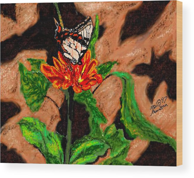 Digital Art Wood Print featuring the digital art Butterfly And Flower by Stan Hamilton