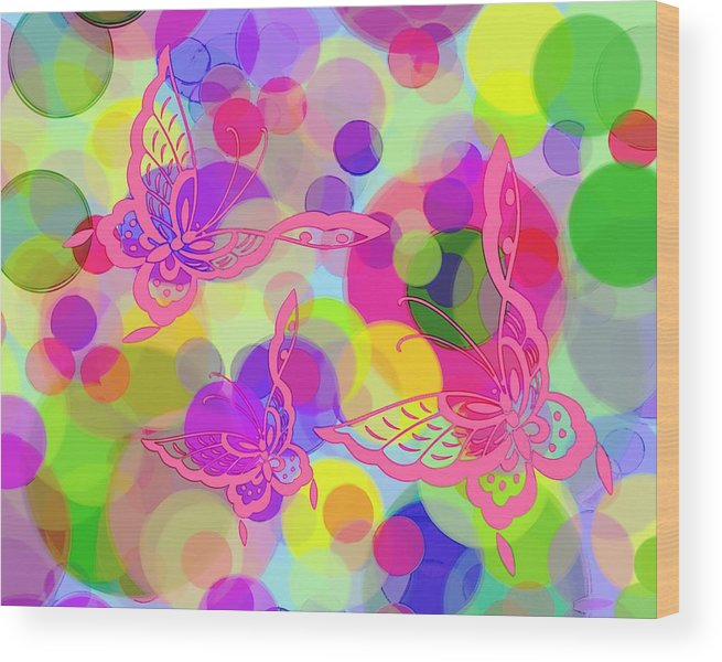 Butterfly Wood Print featuring the digital art Butterfly Bubbles by Lorrie Morrison