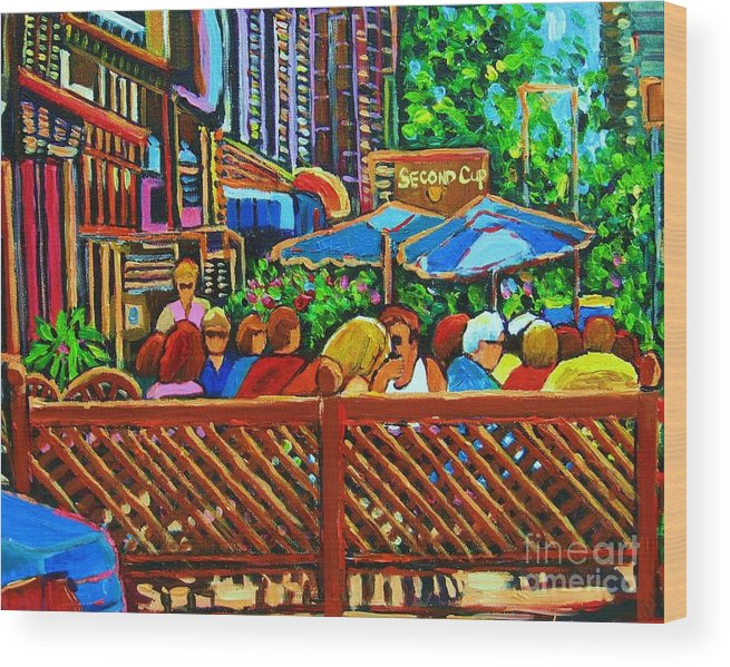 Cafes Wood Print featuring the painting Cafe Second Cup by Carole Spandau