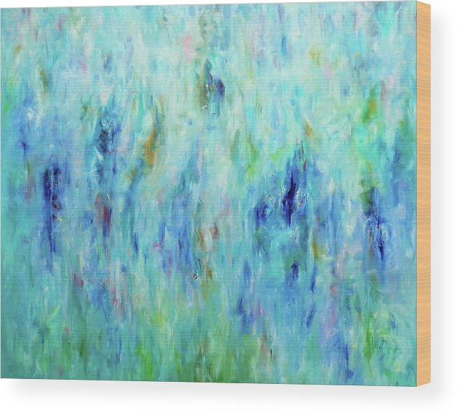 Turquoise Wood Print featuring the painting Calming Turquoise by Elisaveta Sivas