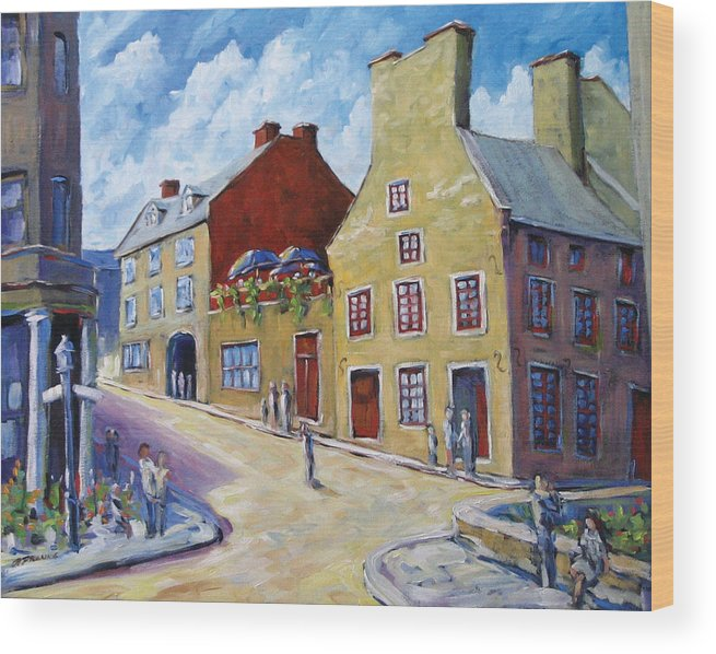 Rural Wood Print featuring the painting Calvet House Old Montreal by Richard T Pranke