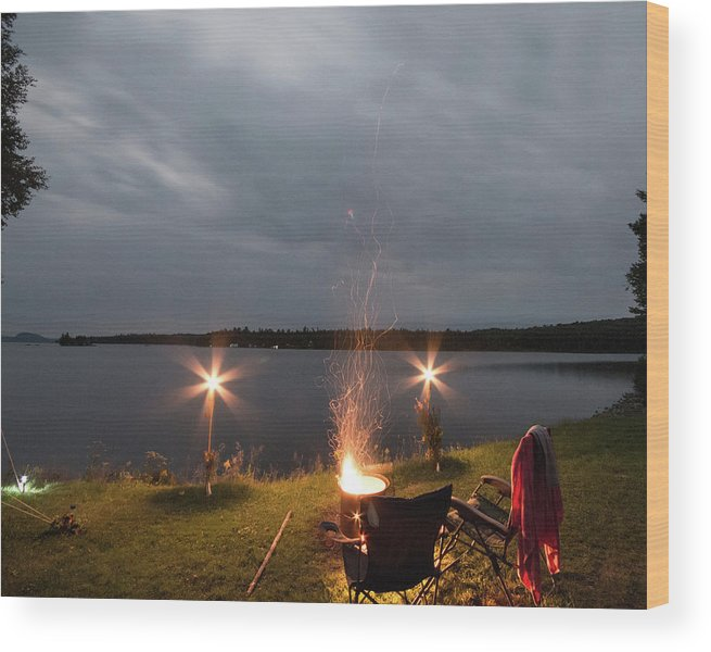 Camping Wood Print featuring the photograph Campsite Lakeside by Justin Mountain