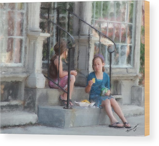 Children Sharing Swap Kids Girls Eating Snacks Lunch Relationships Friends Sisters Friendships Wood Print featuring the painting Can I Have One... by Eddie Durrett