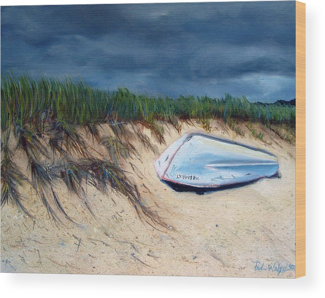 Boat Wood Print featuring the painting Cape Cod Boat by Paul Walsh