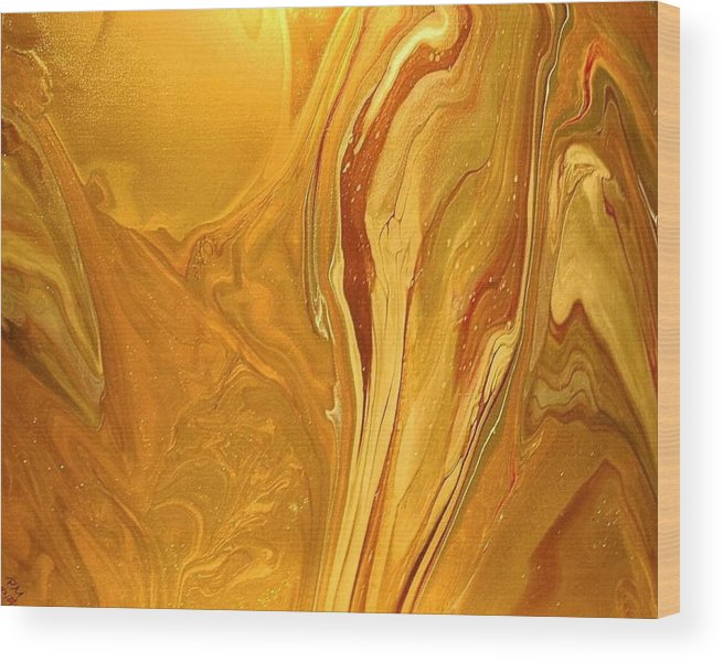 Abstract Wood Print featuring the painting Caramel Delight by Patrick Mock