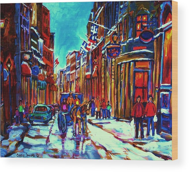 Old Montreal Wood Print featuring the painting Carriage Ride Through The Old City by Carole Spandau