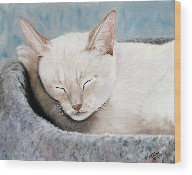 Pets Wood Print featuring the painting Cat Nap by Merle Blair