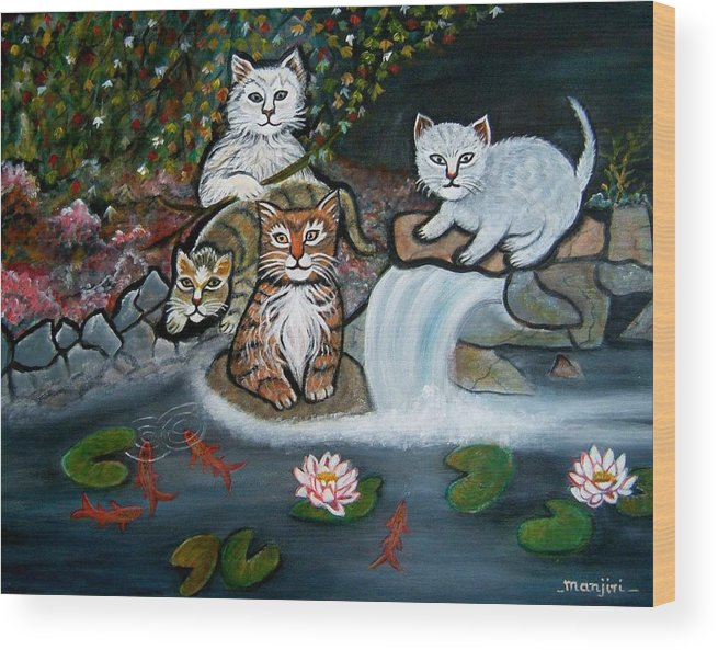 Acrylic Art Landscape Cats Animals Figurative Waterfall Fish Trees Wood Print featuring the painting Cats In The Wild by Manjiri Kanvinde