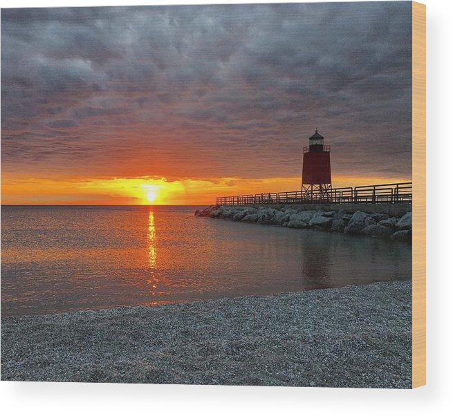 Charlevoix Wood Print featuring the photograph Charlevoix Sunset by Megan Noble