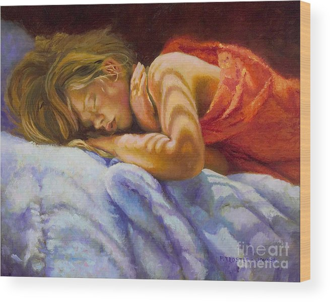 Wall Art Wood Print featuring the painting Child Sleeping Print Wall Art Room Decor by Patti Trostle