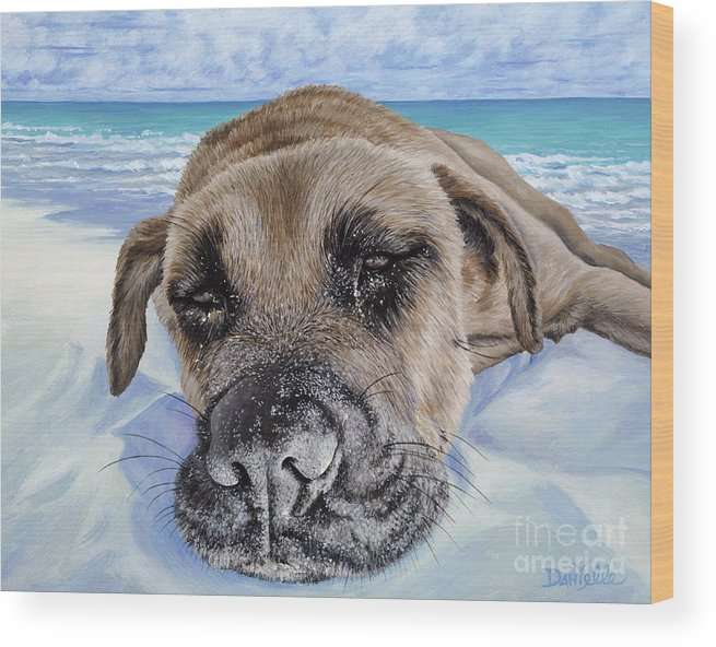Pet Portrait Wood Print featuring the painting Chillin In Briland by Danielle Perry