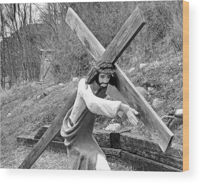 Christ Wood Print featuring the photograph Christ Carrying Cross, Vadito, New Mexico, March 30, 2016 by Mark Goebel