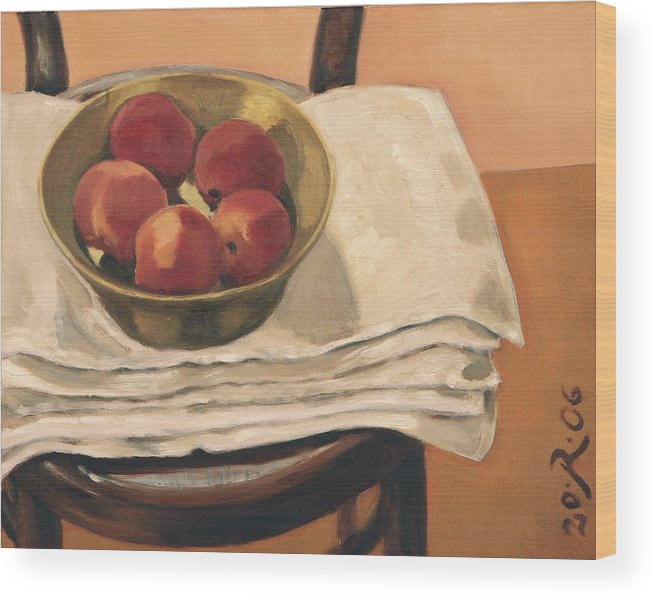 Still-life Apples Chair Red Yellow Gold Wood Print featuring the painting Christmas Apples by Raimonda Jatkeviciute-Kasparaviciene