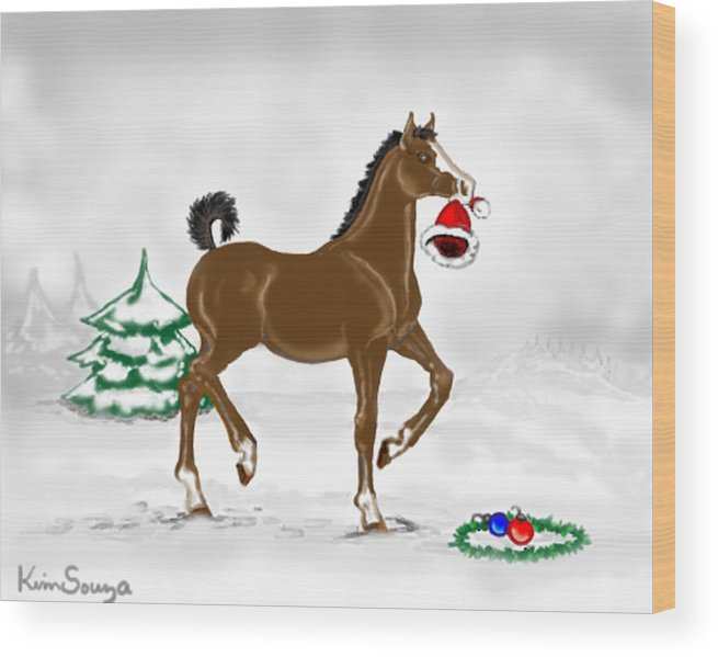 Christmas Wood Print featuring the painting Christmas Colt by Kim Souza