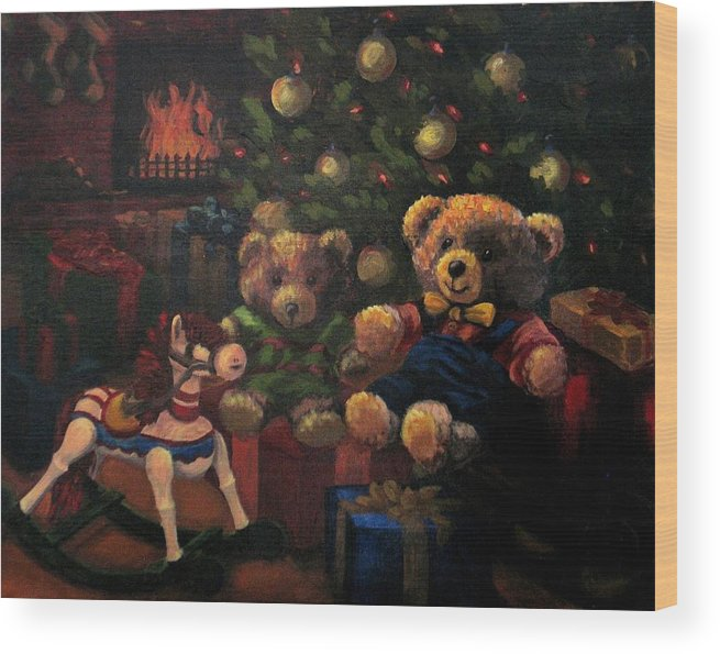 Christmas Wood Print featuring the painting Christmas Past by Karen Ilari