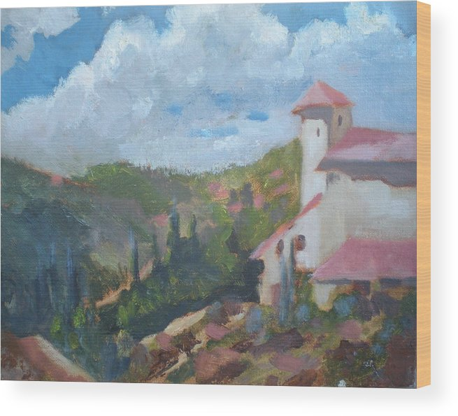 Landscape Off Del Dios Highway Wood Print featuring the painting Cielo Villa by Bryan Alexander