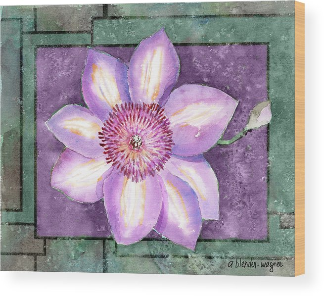 Flowers Wood Print featuring the painting Clematis by Arline Wagner