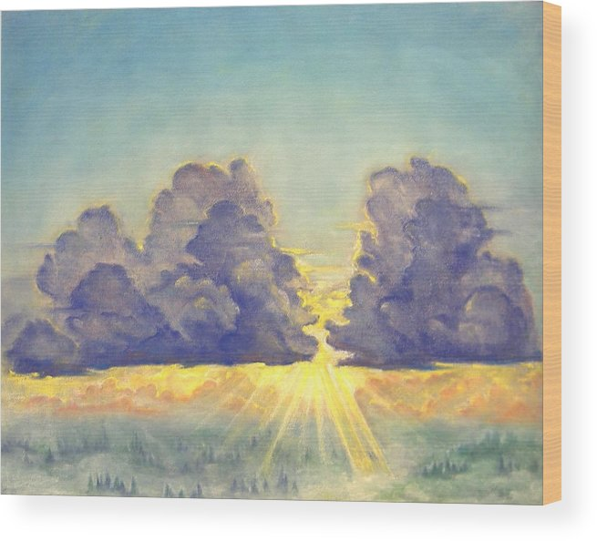 Clouds Wood Print featuring the painting Cloudscape by Julianna Ziegler