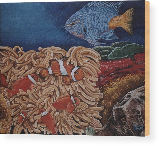 Underwater Scene Wood Print featuring the painting Clownfish by Diann Baggett
