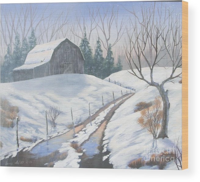 Landscape Wood Print featuring the painting Cold Country by Jerry Walker