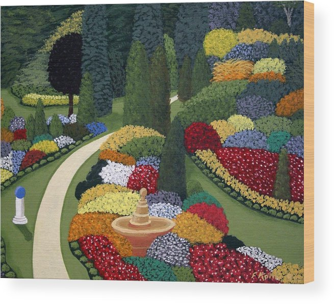 Landscape Paintings Wood Print featuring the painting Colorful Garden by Frederic Kohli