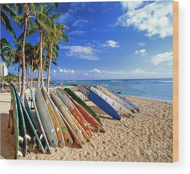 Beach Wood Print featuring the photograph Colorful Surfboards On Waikiki Beach by George Oze