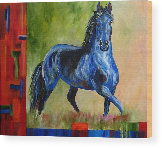 Horse Wood Print featuring the painting Contemporary Horse Painting Fresian by Mary Jo Zorad
