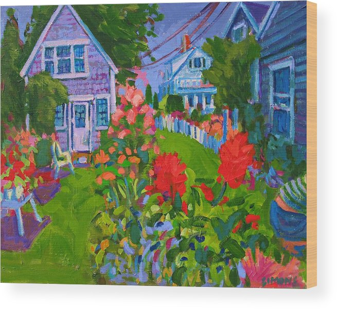 Paintings Wood Print featuring the painting Cottage Country by Brian Simons