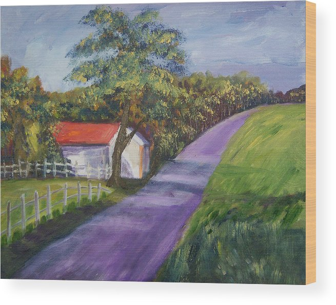 Barn Wood Print featuring the painting Country Road by Renee Gandy