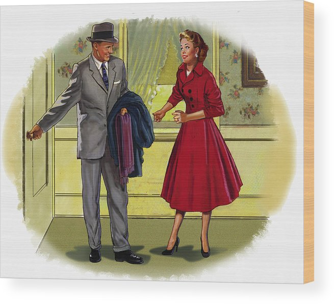 Retro Wood Print featuring the mixed media Couple by Lash Larue
