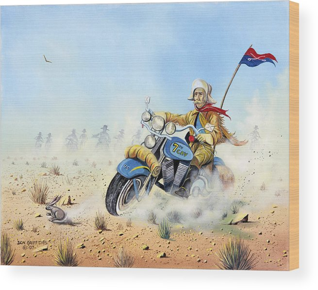 Bike Wood Print featuring the painting Custer On A Hog by Don Griffiths