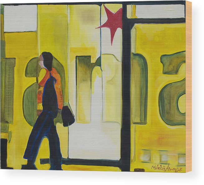 Abstract Wood Print featuring the painting Dam Shopper by Patricia Arroyo