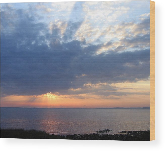 Sunrise-sunset Photography Wood Print featuring the photograph Dawn Sun Rays by Frederic Kohli